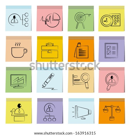 business management icons set, note paper, memo notes - stock vector