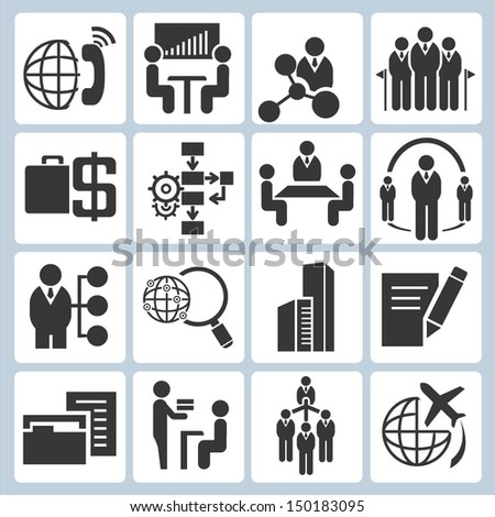 business management icons set, organization management icons set - stock vector