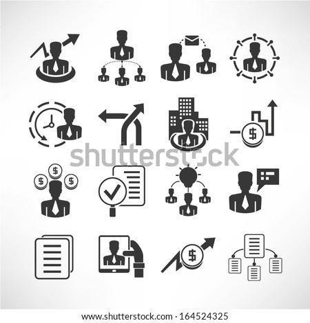 business management icons set, vector - stock vector