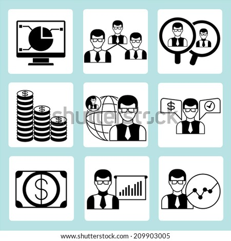business management, office icons set - stock vector
