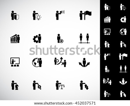 Business management, strategy or human resource icon set