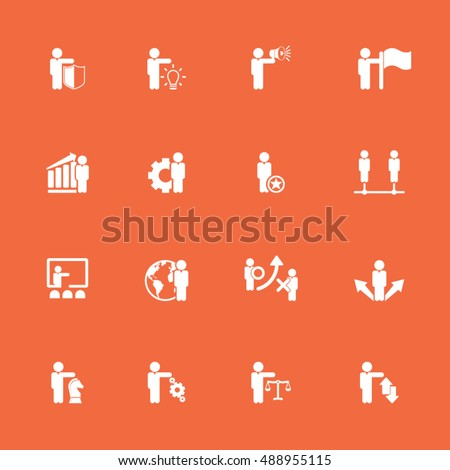 Business management, strategy or human resource icons set.