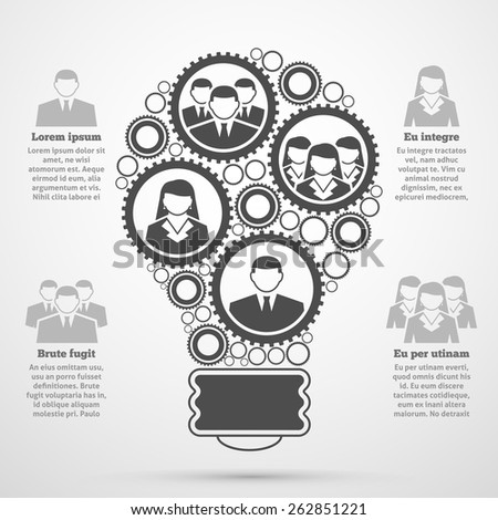 Business management team efficient composition man woman percentage bulb diagram  infographic presentation poster black abstract vector illustration  - stock vector