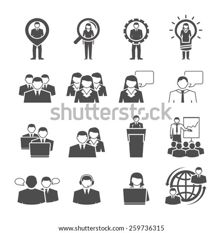 Business management team individuals gender composition for effective global cooperation black icons set abstract isolated vector illustration - stock vector