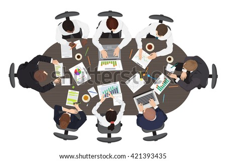 Business management teamwork discuss meeting brainstorming concept. Wide Round table in top point of view.  - stock vector