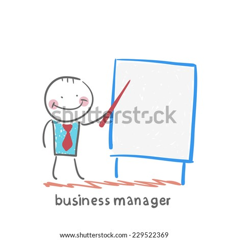 business manager at the poster shows - stock vector
