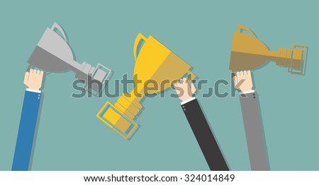 Business mans Hands holding winner's trophy award gold, silver, bronze cups at green background in flat design. Concept for web design, infographic, promotion. Vector illustration - stock vector