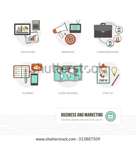 Business, marketing and advertising concepts, thin line objects and icons set - stock vector