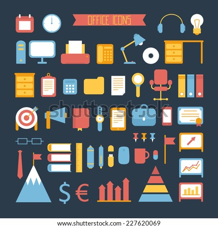 Business, marketing and office design elements. Set of vector colored stylish icons. Illustration in flat style.  - stock vector