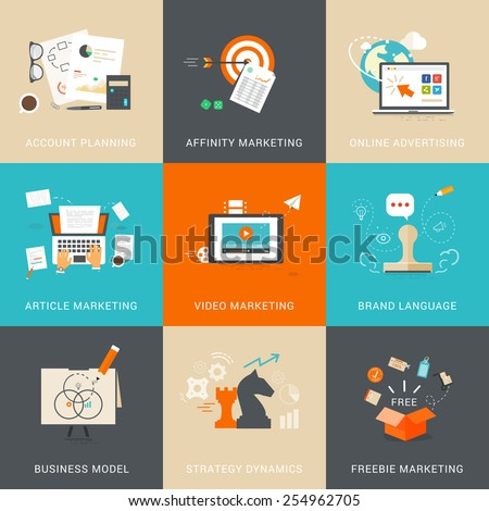 Business  & Marketing Concepts for Account Planning. Affinity Marketing. Online Advertising. Article Marketing. Video Marketing. Brand Language. Business Model. Strategy Dynamics. Freebie Marketing. - stock vector