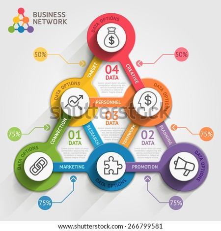 Business marketing infographic template. Vector illustration. Can be used for workflow layout, banner, diagram, number options, web design, timeline elements. - stock vector