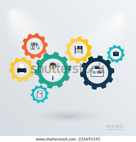 Business mechanism concept. Abstract background with connected gears and icons for strategy, service, analytics, research, seo, digital marketing, communicate concepts. Vector infographic illustration - stock vector