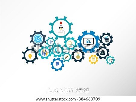Business mechanism startup concept Abstract background with connected gears  icons for strategy, service, analytics, research,digital marketing, communicate concepts. Vector infographic illustration - stock vector