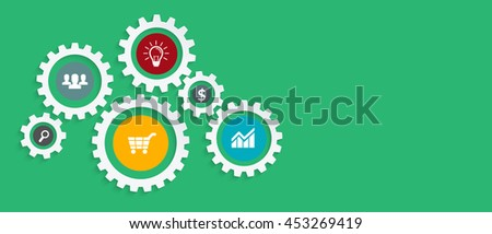 Business mechanism startup concept with connected gears icons for strategy, service, analytics, research,digital marketing, communicate concepts. Vector infographic illustration. Copy space.