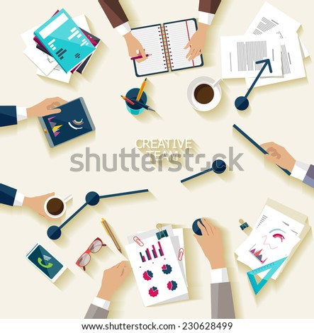 Business meeting and brainstorming. Flat design. - stock vector