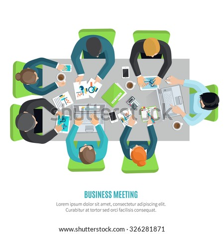 Business meeting and group discussion flat concept with men and women at squared office table vector illustration - stock vector