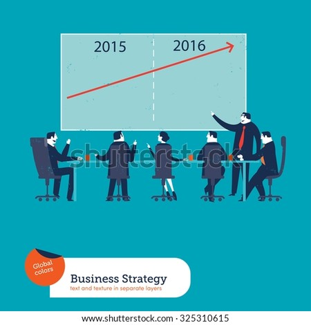 Business meeting benefits chart of year 2015 and 2016. Vector illustration Eps10 file. Global colors. Text and Texture in separate layers. - stock vector