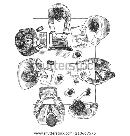 Business meeting concept top view people sitting on squared table sketch vector illustration - stock vector