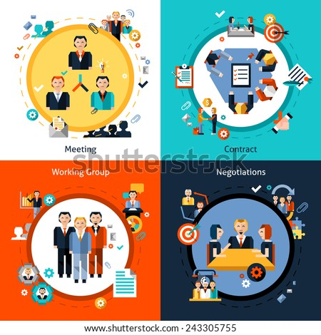 Business meeting design concept set with meeting contract working group negotiations flat icons isolated vector illustration - stock vector