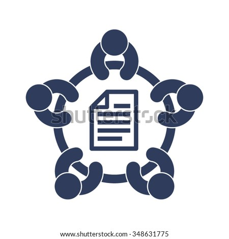 Business Meeting Discussion Conference Brainstorming Agreement Contract People Together Vector Icon - stock vector