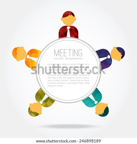 Business meeting, group of people around the table, teamwork concept,  polygonal design, vector illustration background - stock vector
