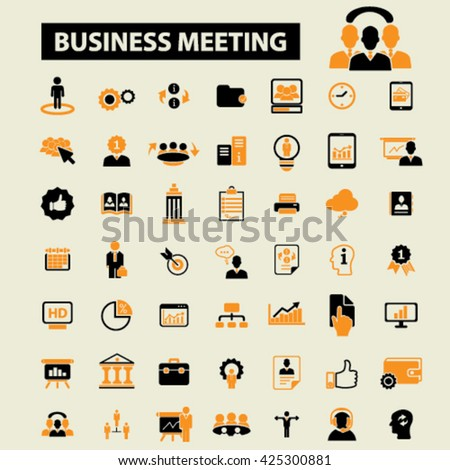 business meeting icons  - stock vector