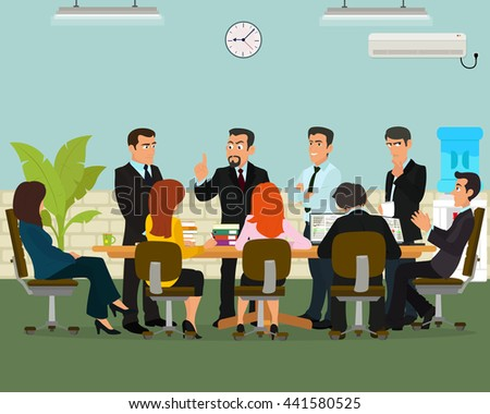 Business meeting in an office. vector.  Meeting with the boss and employee meeting.  - stock vector