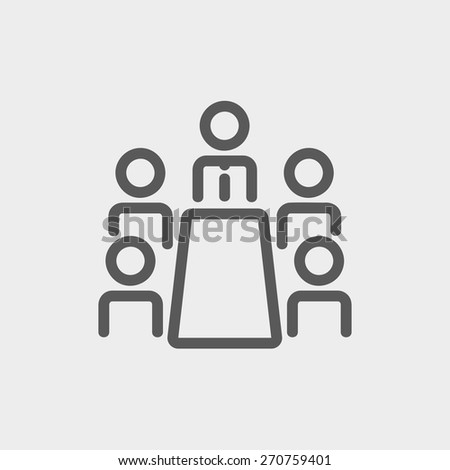 Business meeting in office icon thin line for web and mobile, modern minimalistic flat design. Vector dark grey icon on light grey background. - stock vector