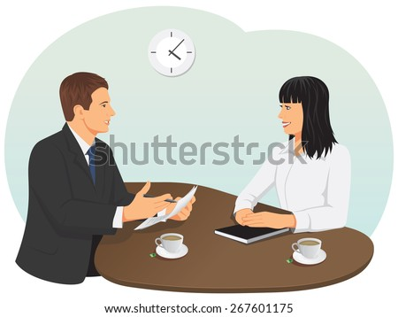 Business meeting in the office. Businessman and businesswoman are talking. - stock vector
