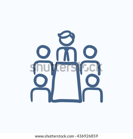 Business meeting in the office vector sketch icon isolated on background. Hand drawn Business meeting in the office icon. Business meeting in the office sketch icon for infographic, website or app. - stock vector