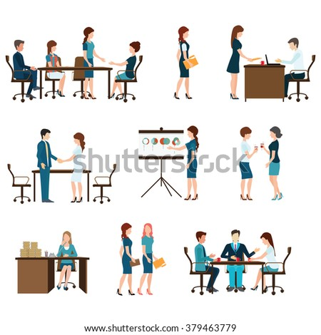 Business meeting, office life, teamwork, planning, conference, brainstorming in flat style, conceptual vector illustration. - stock vector