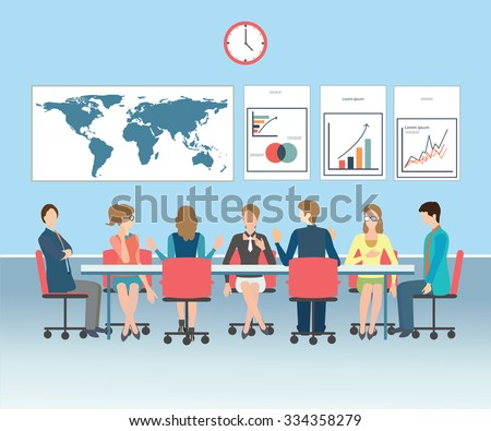 Business meeting, office, teamwork, brainstorming in flat style, conceptual vector illustration. - stock vector