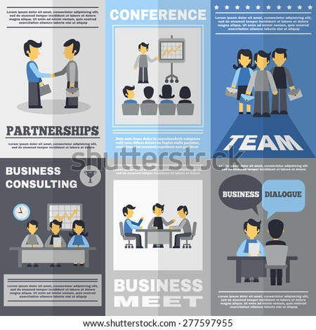 Business meeting partnership team and consulting poster set isolated vector illustration - stock vector