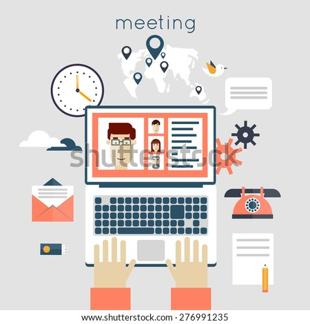 Business meeting. People talking on-line, working at the computers. Teamwork analyzing project on business meeting. Hands and laptop. Top view. Flat design vector illustration. - stock vector