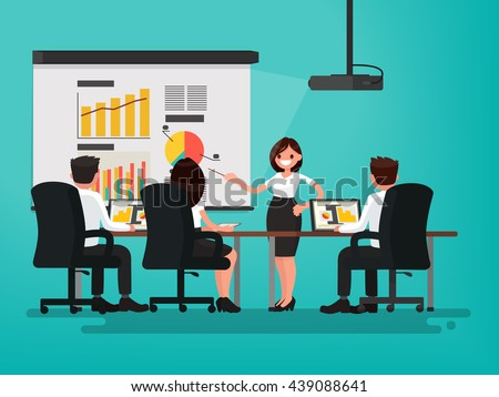 Business meeting. Presentation of the project. A woman speaks before his colleagues. Vector illustration of a flat design - stock vector