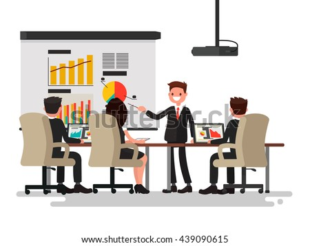 Business meeting. Presentation of the project. Man speaks before his colleagues. Vector illustration of a flat design - stock vector