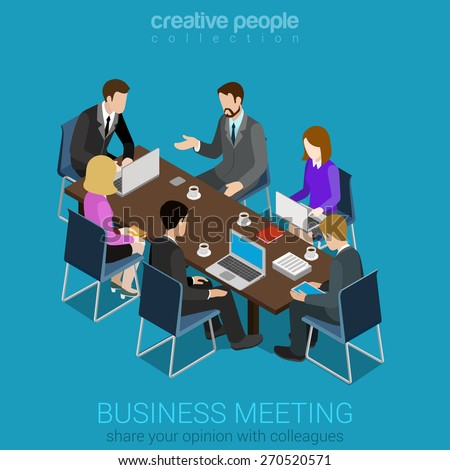 Business meeting room team collaboration flat 3d web isometric infographic concept vector. Businesspeople around table working with laptop tablet. Creative people collection. - stock vector