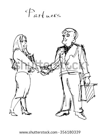 Business meeting. Sketch of the man and woman shaking the hands.