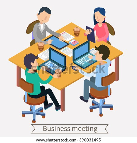 Business Meeting. Team Working. Isometric Concept. Office Workers. Man with Laptop. Woman with Tablet. Office Life. Modern Lifestyle. Vector illustration - stock vector