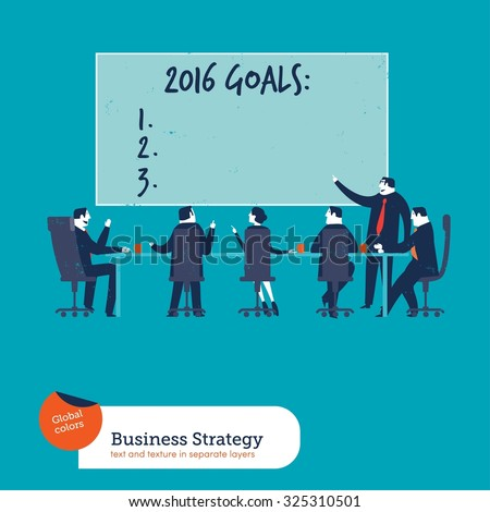 Business meeting with goals of year 2016. Vector illustration Eps10 file. Global colors. Text and Texture in separate layers. - stock vector