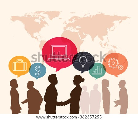Business meeting with speech bubble ifographic  - stock vector
