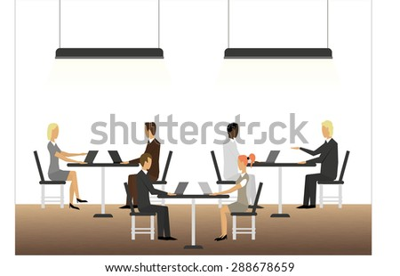 Business meeting with tables and laptops - stock vector