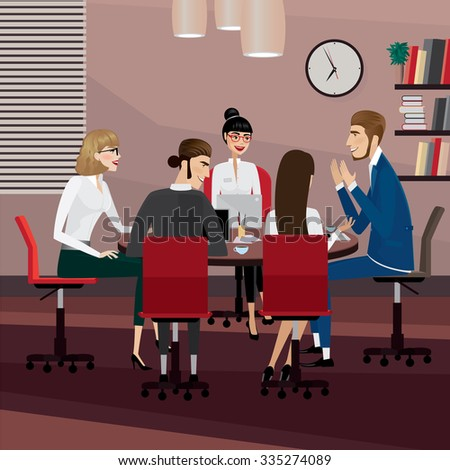Business men and women at meeting in office - stock vector