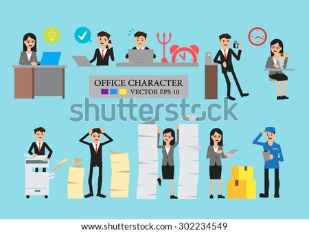 Business men and women in different poses I convey emotions,vector and cartoon - stock vector