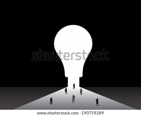 Business men and women standing front of big idea lightbulb door. nicely dressed businessmen and businesswomen standing, thinking, dreaming, planning in front of big light bulb shaped door concept - stock vector