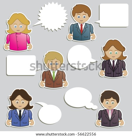 business men and women with speech bubble icons ready for text - stock vector