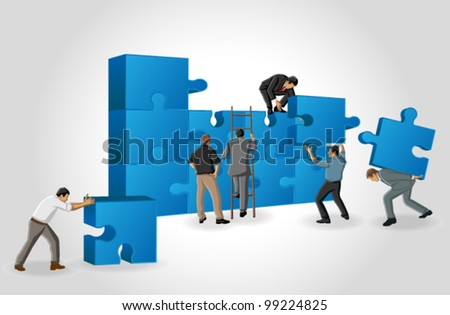 Business men assembling the pieces of a puzzle - stock vector