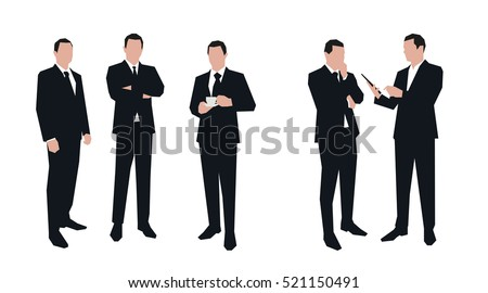Business men character set in various poses. Flat vector illustrations. Group of business people silhouettes. Men in suits