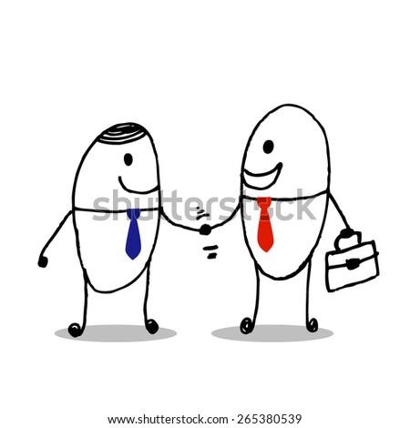 business men handshake - Vector Illustration art - stock vector