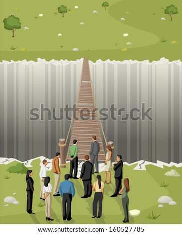 Business men in front of a old wooden bridge over abyss  - stock vector